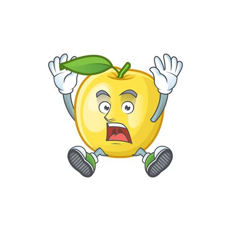 Scream golden apple fruit cartoon on white background