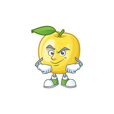 Smirking golden apple fruit cartoon on white background