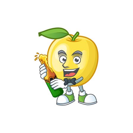 With beer shape golden apple fruits for character mascot vector illustration