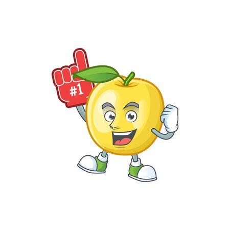 Foam finger shape golden apple fruits for character mascot vector illustration