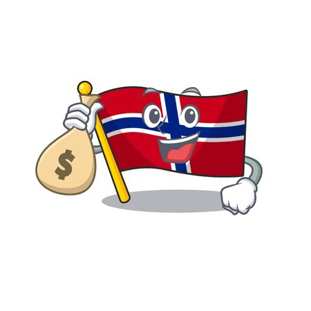 With money bag flag norway character shaped on cartoon vector illustration Ilustrace