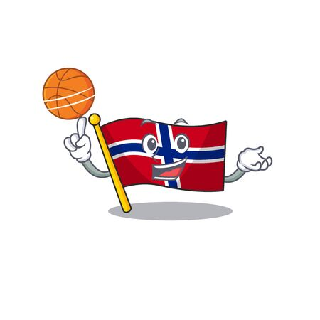 With basketball flag norway character shaped on cartoon vector illustration Ilustrace