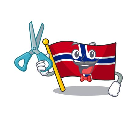 Barber flag norway character shaped on cartoon vector illustration Ilustrace