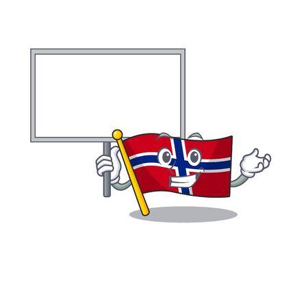 Bring board flag norway character shaped on cartoon vector illustration