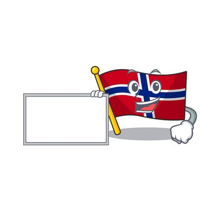 With board flag norway character shaped on cartoon vector illustration