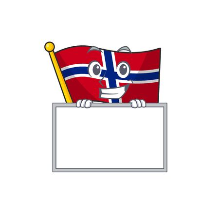 Grinning with board flag norway character shaped on cartoon vector illustration