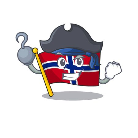 Pirate flag norway character shaped on cartoon vector illustration