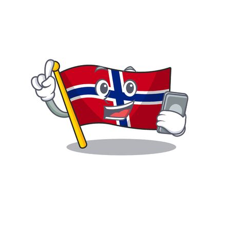 With phone flag norway character shaped on cartoon vector illustration Çizim
