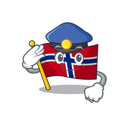 Police flag norway character shaped on cartoon vector illustration