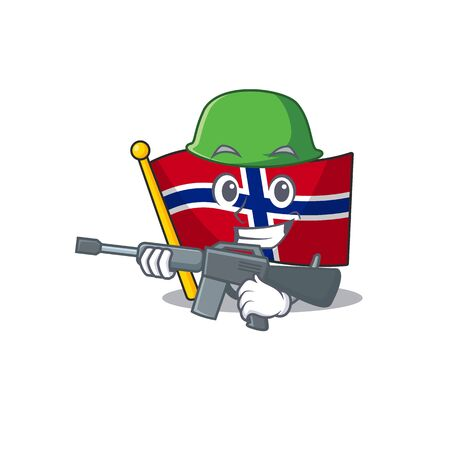 Army flag norway character shaped on cartoon vector illustration