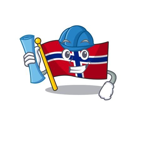 Architect flag norway isolated in the mascot vector illustration Çizim