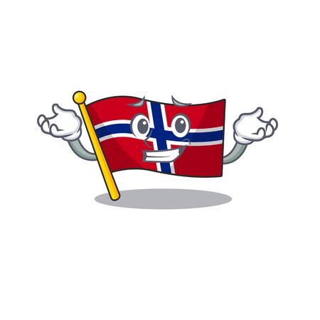 Grinning flag norway isolated in the mascot vector illustration