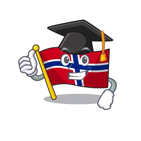 Graduation flag norway isolated in the mascot vector illustration