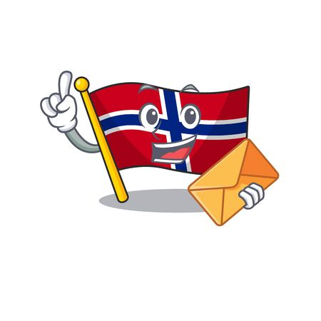 With envelope flag norway isolated in the mascot vector illustration Stock Illustratie