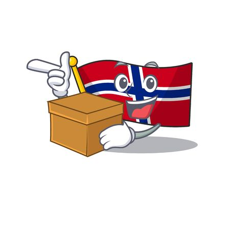 With box flag norway isolated in the mascot vector illustration