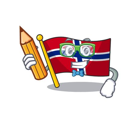 Student flag norway isolated in the mascot vector illustration