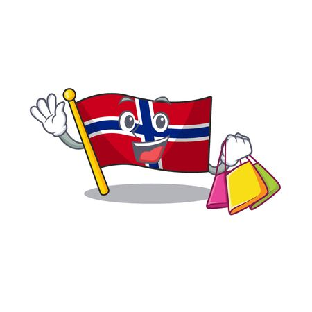 Shopping flag norway isolated in the mascot vector illustration