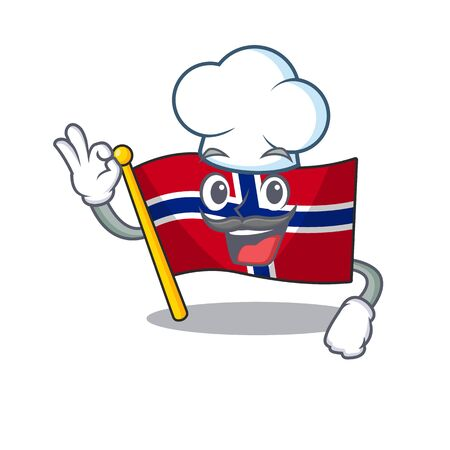 Chef flag norway isolated in the mascot vector illustration Ilustrace