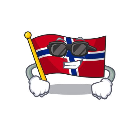 Super cool flag norway isolated in the mascot vector illustration Ilustrace