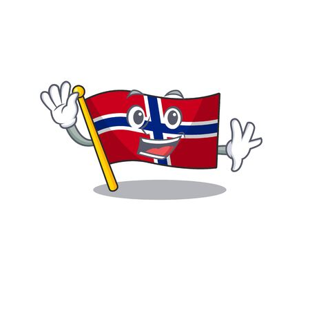 Waving flag norway isolated in the mascot vector illustration