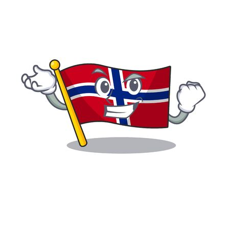 Successful flag norway isolated in the mascot vector illustration Иллюстрация