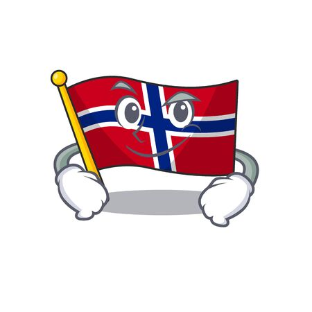Smirking flag norway isolated in the mascot vector illustration Ilustrace