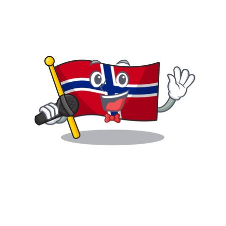 Singing norway flag is flown on character pole vector illustration