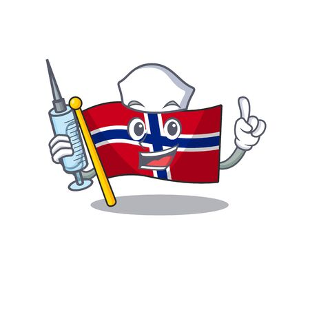 Nurse flag norway isolated in the mascot vector illustration