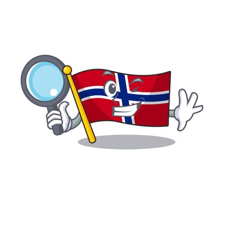 Detective flag norway isolated in the mascot vector illustration Ilustrace