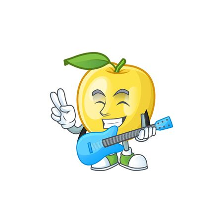 With guitar golden apple cartoon character for design