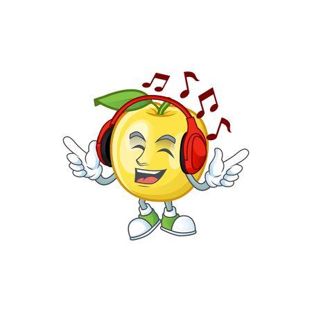 Listening music golden apple cartoon character for design