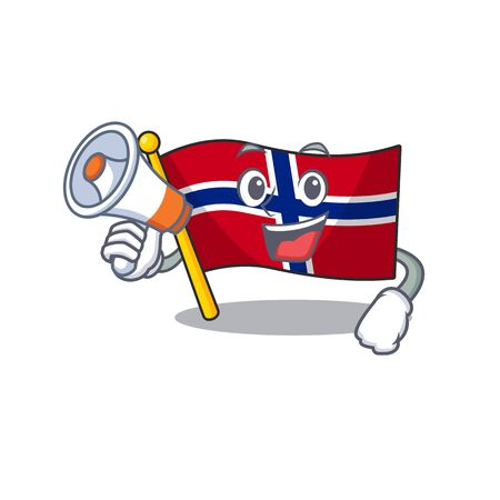 With megaphone flag norway character shaped on cartoon vector illustration