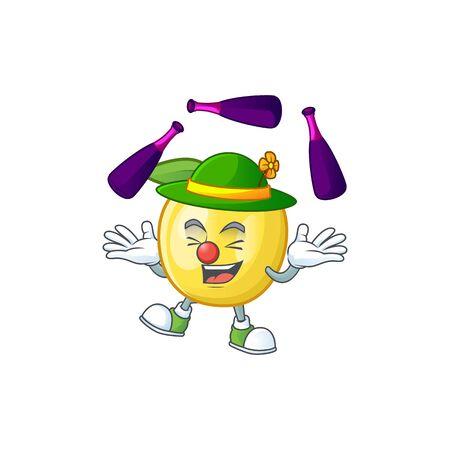 Juggling shape golden apple fruits for character mascot