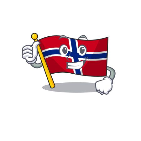 Thumbs up flag norway isolated in the mascot vector illustration