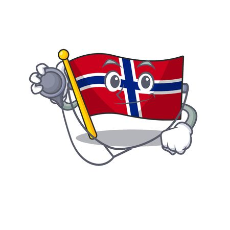 Doctor flag norway character shaped on cartoon vector illustration