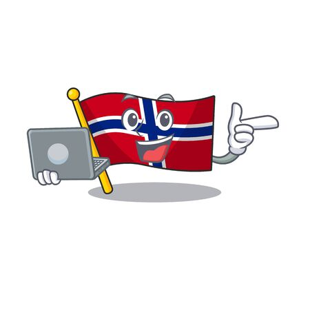 With laptop flag norway character shaped on cartoon vector illustration Ilustrace