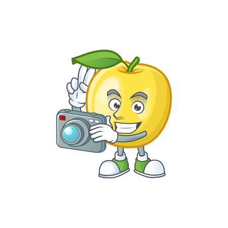 Photographer golden apple cartoon character for design