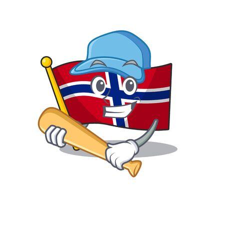 Playing baseball flag norway character shaped on cartoon vector illustration