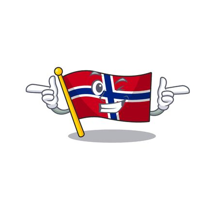 Wink flag norway isolated in the mascot vector illustration Ilustrace