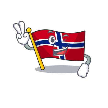 Two finger flag norway isolated in the mascot vector illustration 일러스트