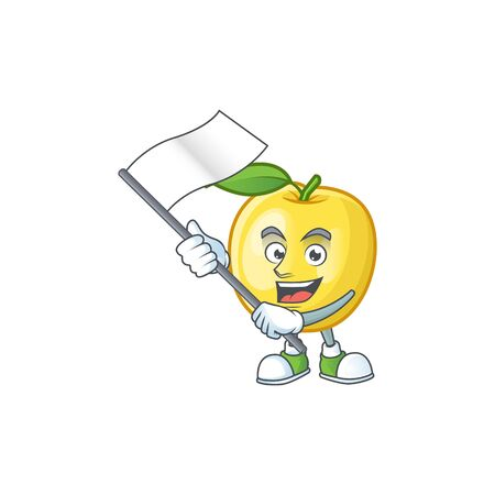 With flag shape golden apple fruits for character mascot