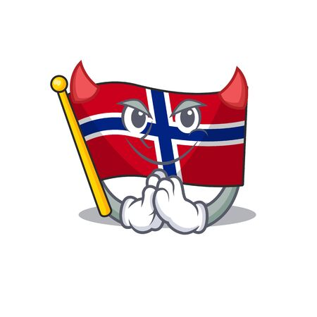 Devil norway flag is flown on character pole vector illustration
