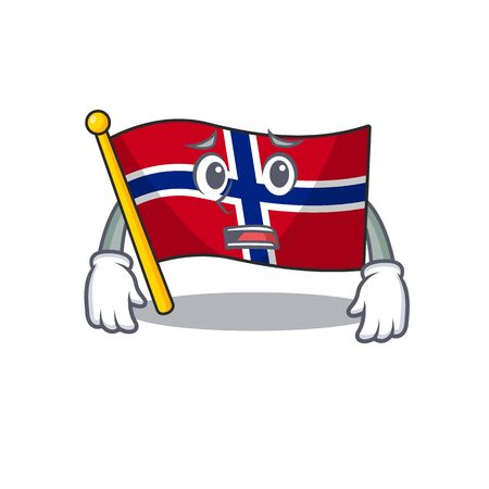 Afraid norway flag is flown on character pole vector illustration