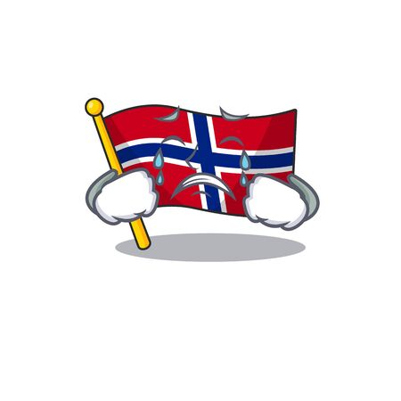 Crying norway flag is flown on character pole vector illustration