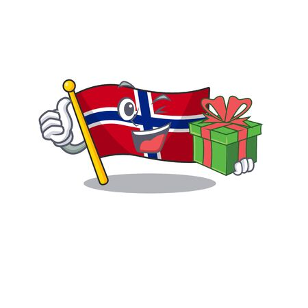 With gift norway flag is flown on character pole vector illustration Ilustrace