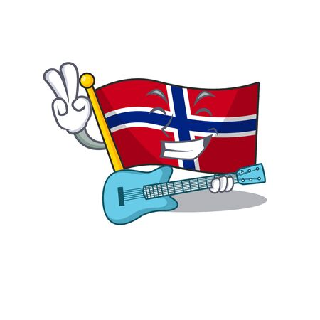 With guitar norway flag is flown on character pole vector illustration Ilustracja