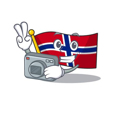 Photographer norway flag is flown on character pole vector illustration