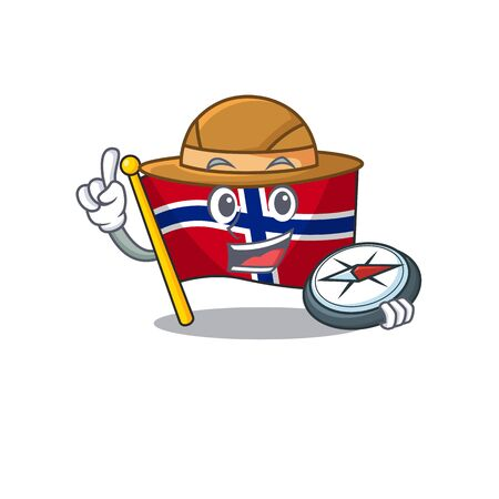 Explorer norway flag is flown on character pole vector illustration Ilustrace