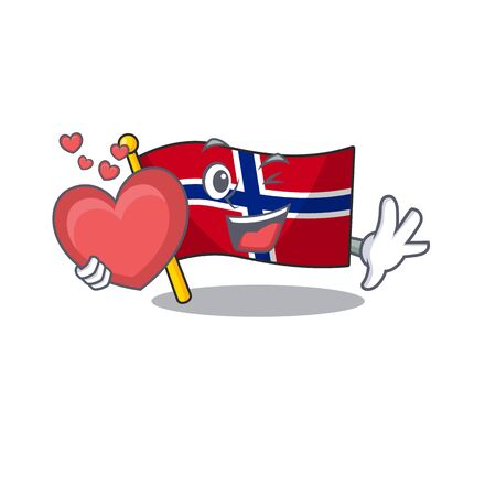 With heart norway flag is flown on character pole vector illustration Ilustrace