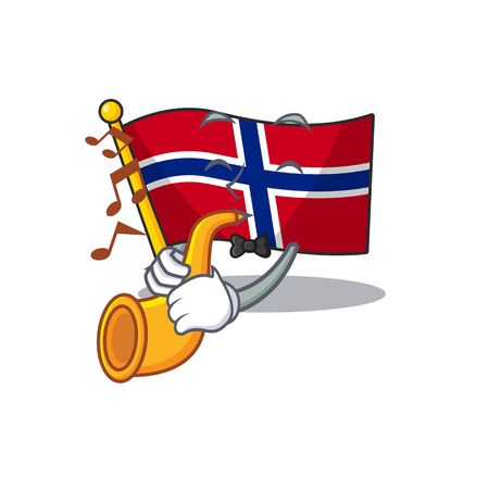 With trumpet norway flag is flown on character pole vector illustration